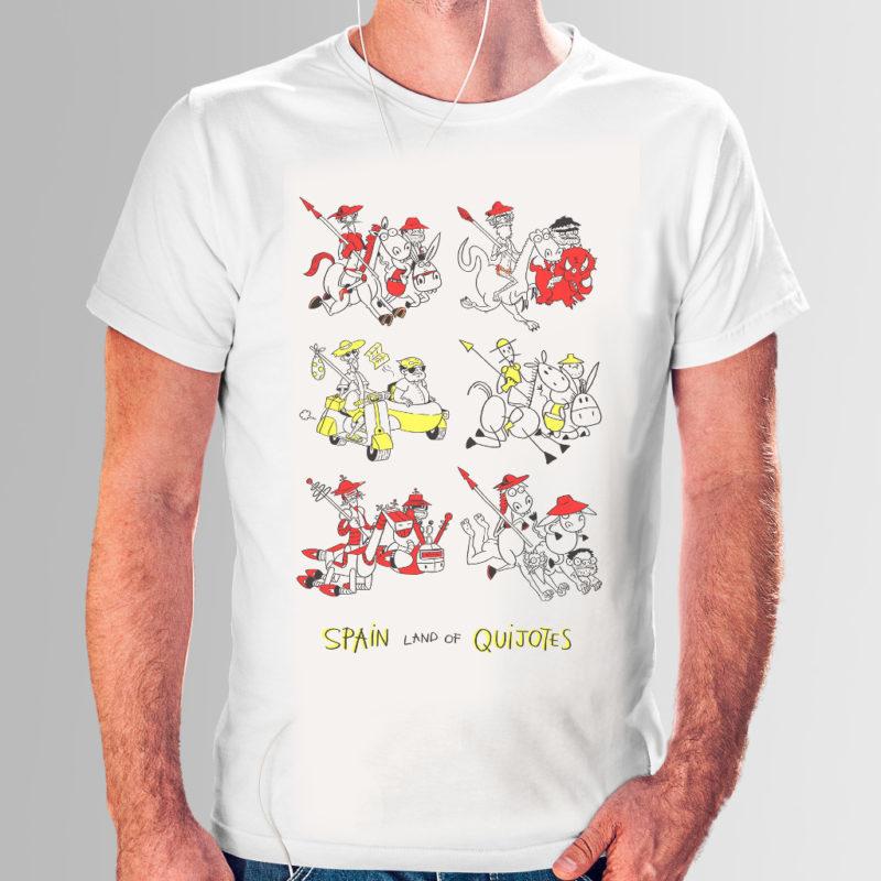 Camiseta con dibujos futuristas de El Quijote