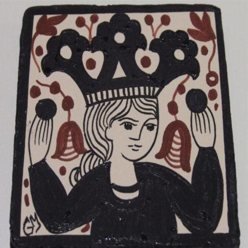 Azulejo de la reina con la técnica del socarrat